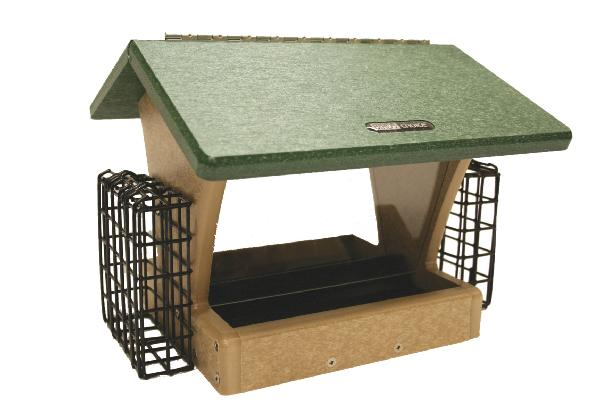 Bird's Choice Recycled 4 Quart 2-Sided Feeder w/Suet Cages